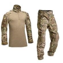 Camuflagem tático militar uniforme roupas terno dos homens do exército dos eua multicam airsoft combate camisa + calças de carga joelheiras
