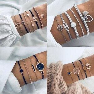 Boho Rose Map Bracelets & Bangles for Women Bohemian Round Beaded Charm Bracelet Set Fashion Multilayer Accessories 2019 Bijoux(China)