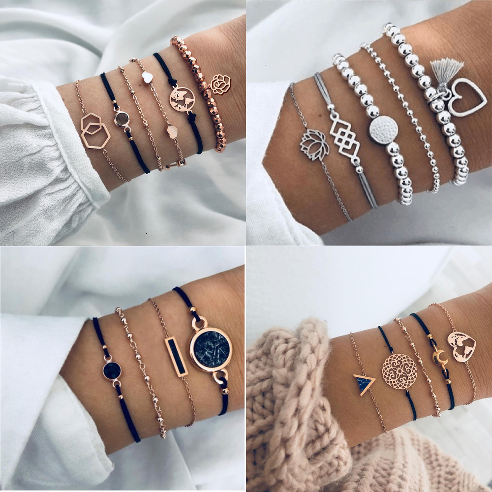 Boho rosa mapa pulseiras & pulseiras para feminino boêmio redondo frisado charme pulseira conjunto moda multicamadas acessórios 2020 bijoux