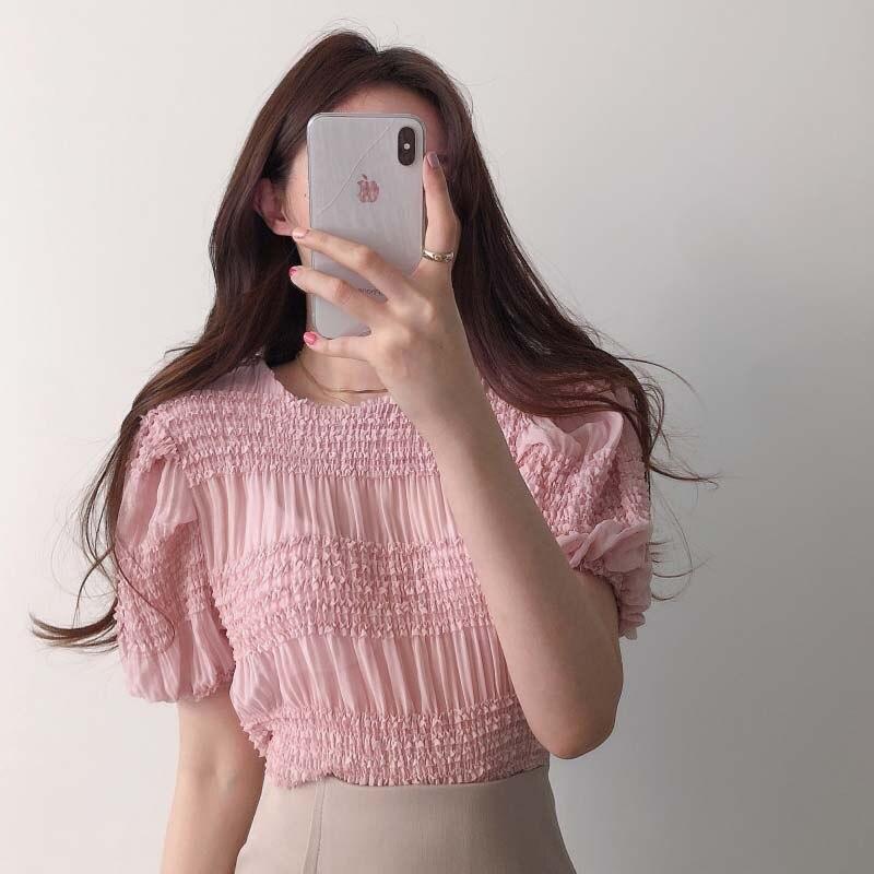 Nouveau élégant chemisier en mousseline de soie Sexy manches bouffantes Blusa Feminina Manga Curta haut blanc coréen mode vêtements chemise Verano Mujer