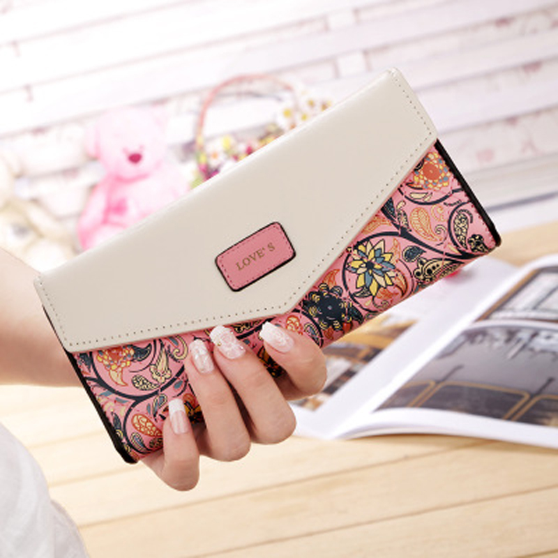 2019 New Fashion Envelope Women Wallet Hit Color 3Fold Flowers Printing PU Leather Wallet Long Ladies Clutch Coin Phone Purse