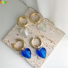 Kshmir – boucles d'oreilles en verre en forme de cœur, rondes, grandes, suspendues, uniques, bohème, à la mode, pour femmes, nouvelle collection