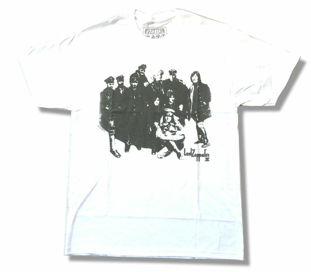 Led Zeppelin Black/White 2Nd Ii Album Coverharajuku Streetwear Shirt Menwhite T Shirt New Official Soft image