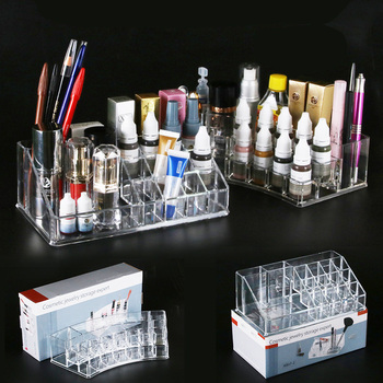 Permanent Makeup 16 Holes Acrylic Tattoo Ink Cup Clear Crystal Box Makeup Pigment Cups Caps Storage Container Rack Holder Stand