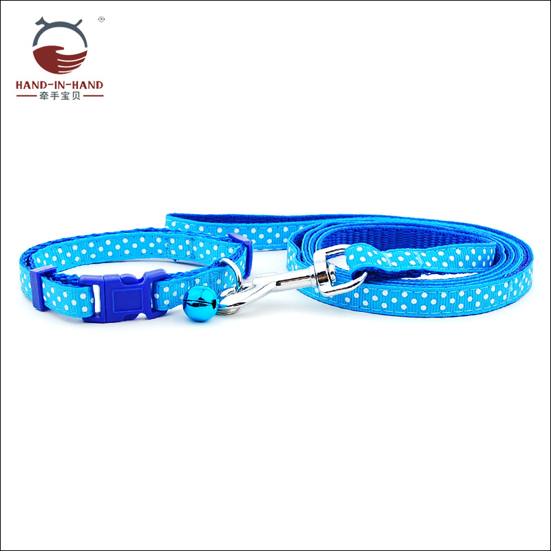 Hand-in-hand Manufacturers Direct Selling Wholesale Dogs And Cats Pet Traction Rope Drawstring 1.0 Cm Dotted Lace Pull Neck Band