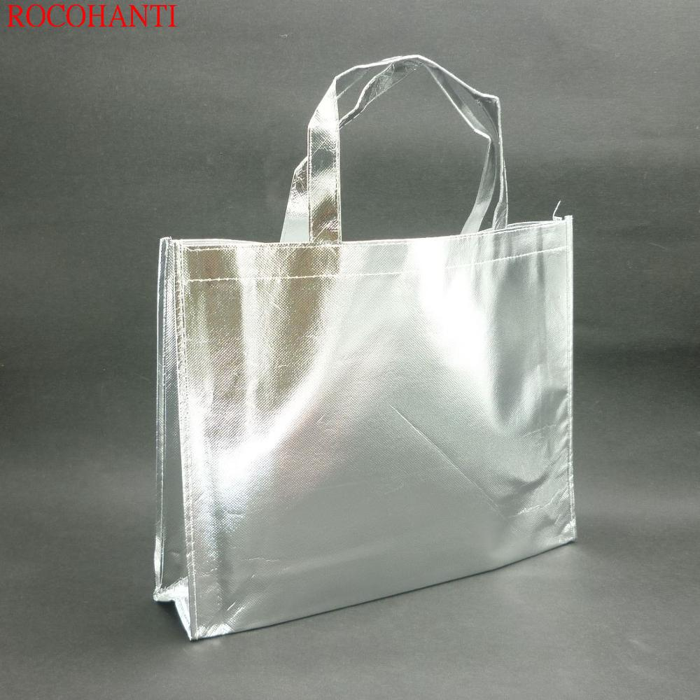 Free Sample Shopping Silver Metallic Laminated Non Woven Tote Bag Handled Style