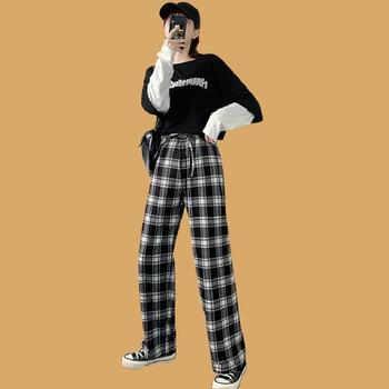 Harajuku Plaid Pants Women 2020 High Waist Loose Straight Casual Trousers Spring Autumn Streetwear Wide Leg