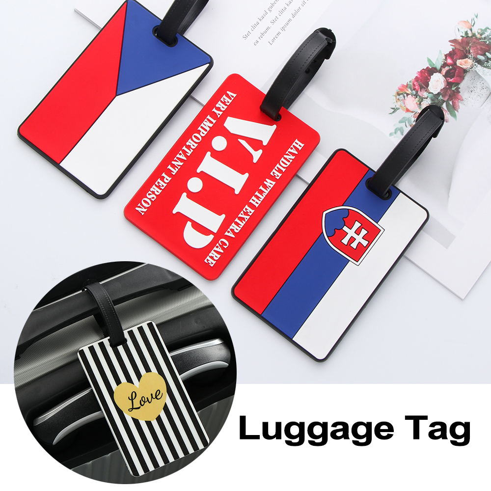 1Pcs Luggage&Bags Accessories Cute Novelty Rubber Funky Travel ID Addres Holder Label Straps Suitcase Luggage Tags Dropshipping