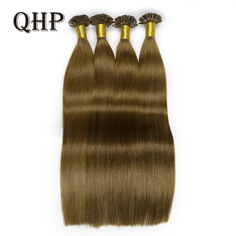 Human-Hair-Stick Hair-Extensions Qhp-Capsules Pre-Bonded Straight Hair-50pc U/Nail-Tip