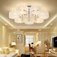 Modern crystal Led Ceiling Lights fashionable design dining room pendant lamp white shade acrylic lustre lighting YHJ011111