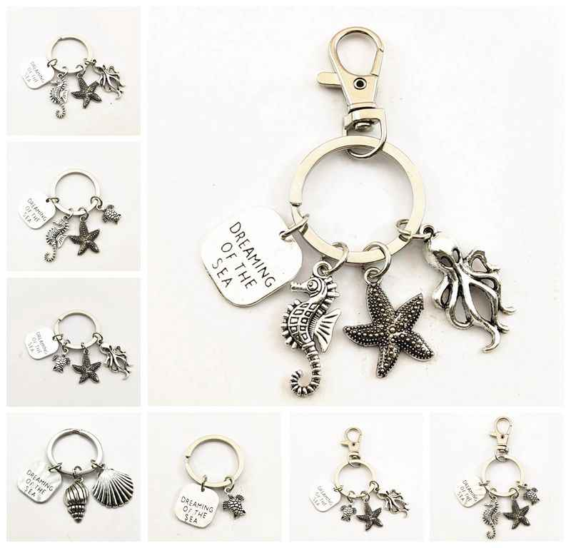 1pcs Seahorse Keychain Octopus Metal Charm starfish Pendant key ring For Gift Car Key Chain Jewelry Men Women Jewelry