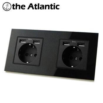 цена на Dual Power Socket 16A USB Mobile Charging Port 2 Gang Socket Russia Spain DE EU Wall Electrical Outlet Black Glass 172mm*86mm