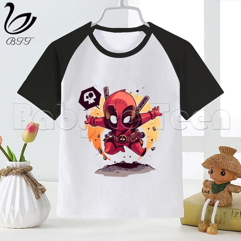 DeadPool Marvel nuevo niños niñas niños verano Casual camiseta impresa ropa para niños Linda Camiseta de manga corta para niños