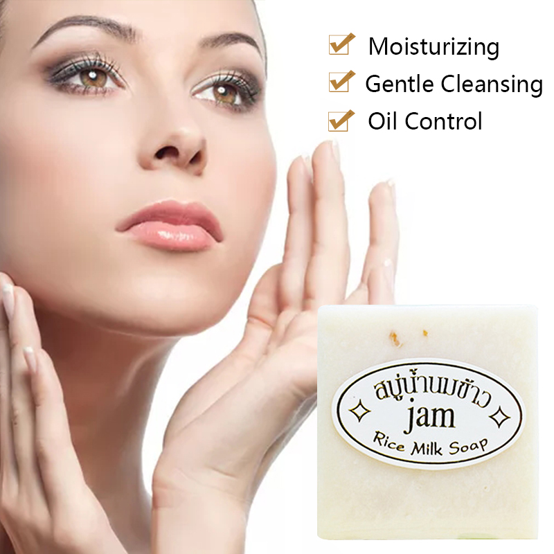 1Pc Handmade Soap Thailand Jasmine Rice Collagen Vitamin Skin Whiten BathingRice Milk Soap Bleaching Agents Acne Soap TSLM2