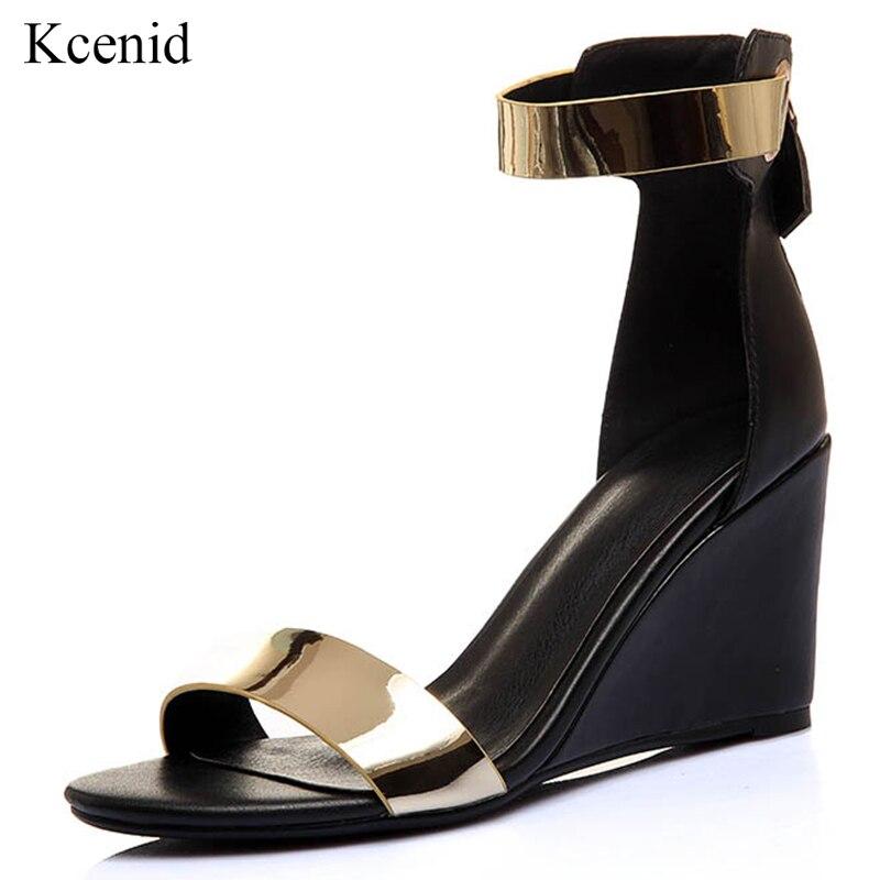 Kcenid 새로운 대형 하이힐 여성 샌들 웨지 오픈 발가락 여름 검투사 샌들 펑크 지퍼 신발 여자 드레스 파티 펌프-에서하이힐부터 신발 의  그룹 1