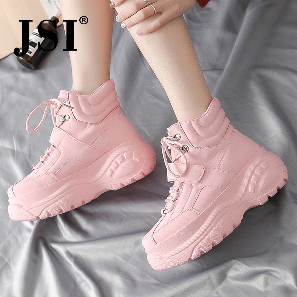 JSI Solid Round Toe Sneakers Women Boots Casual Lace-Up Microfiber Flats Mixed Colors Chunky Platform Sneakers Ladies Shoes jx41