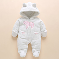 Winter Newborn Baby Girl Clothes Thicken Coral Fleece Warm Hoodie Jumpsuit Girls Clothing Baby Rompers Bear roupas de bebe 0
