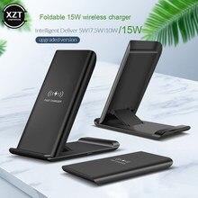15w qi sem fio carregador almofada dobrável suporte para iphone 11 xr x xs 8 samsung s9/10/20 10w carregamento rápido titular usb c telefone carga