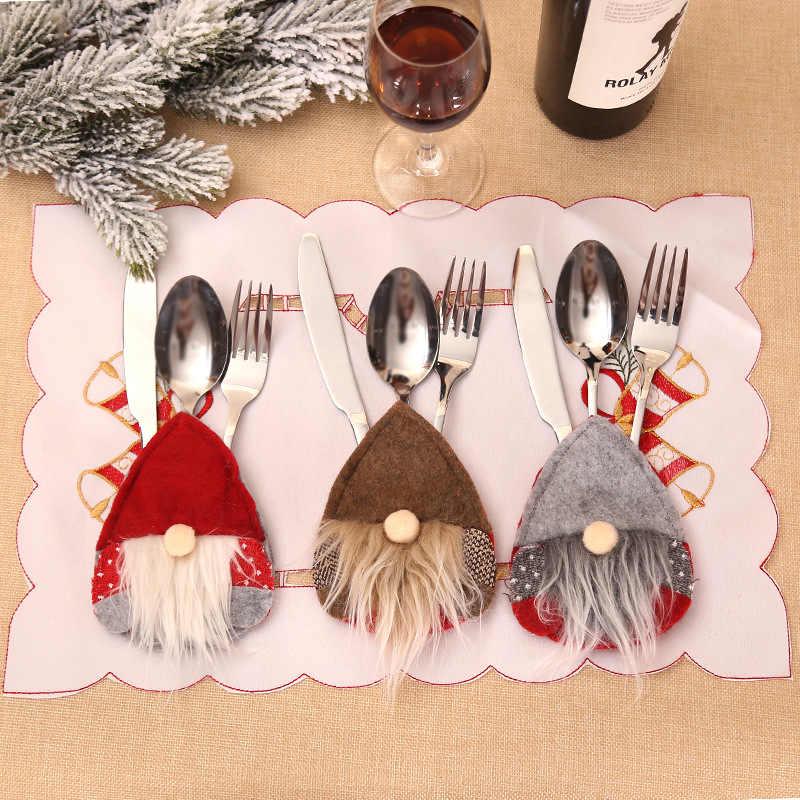 Gorro de Papá Noel, Reno, Año Nuevo, bolsillo, tenedor, cuchillo, cubiertos, bolsa, fiesta en casa, decoración de mesa de cena, vajilla 62417