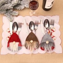 Bag Tableware Cutlery-Holder Reindeer Santa-Hat Dinner-Decoration Christmas New-Year