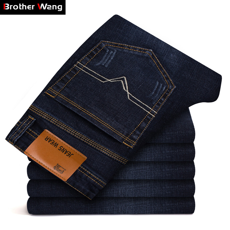 Brother Wang Brand Men's Slim Fit Jeans Fashion Business Classic Style Stretch Jeans Denim Pants Casual Trousers Male Black Blue