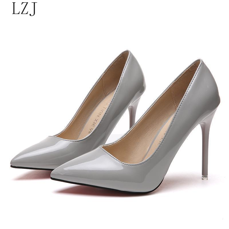 HOT Women Shoes Pointed Toe Pumps Patent Leather Dress  High Heels Boat Shoes Wedding Shoes Zapatos Mujer White Plus Size 34-40