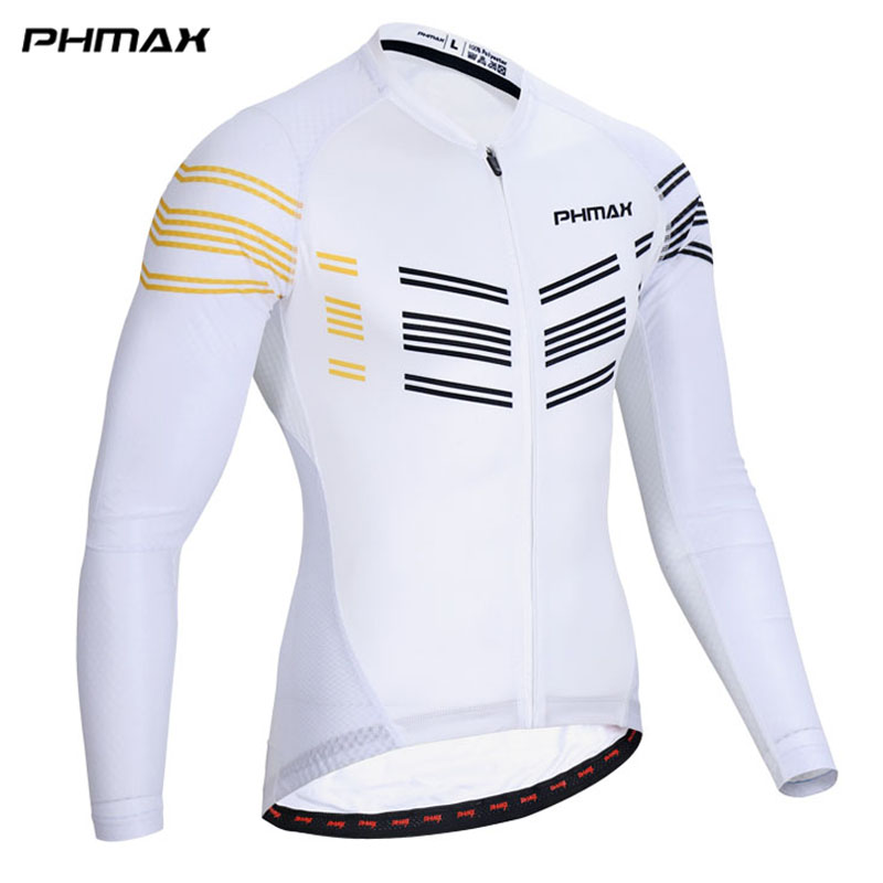 PHMAX Long Sleeve Pro Cycling Jersey 100% Polyester Maillot Ropa Ciclismo Mountain Bike Clothing For MTB Bicycle Wear
