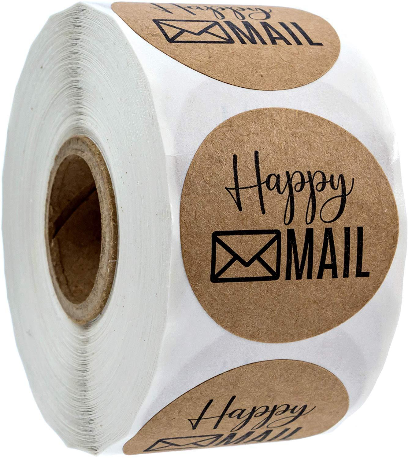 500pcs / Roll Label Circular Kraft Paper Happy Mail Sticker Envelope Stationery Business Sticker