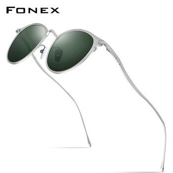 FONEX Pure Titanium Sunglasses Men Vintage Small Round Polarized Sun Glasses for Women 2019 New Retro Mirrored UV400 Shades 8509 1