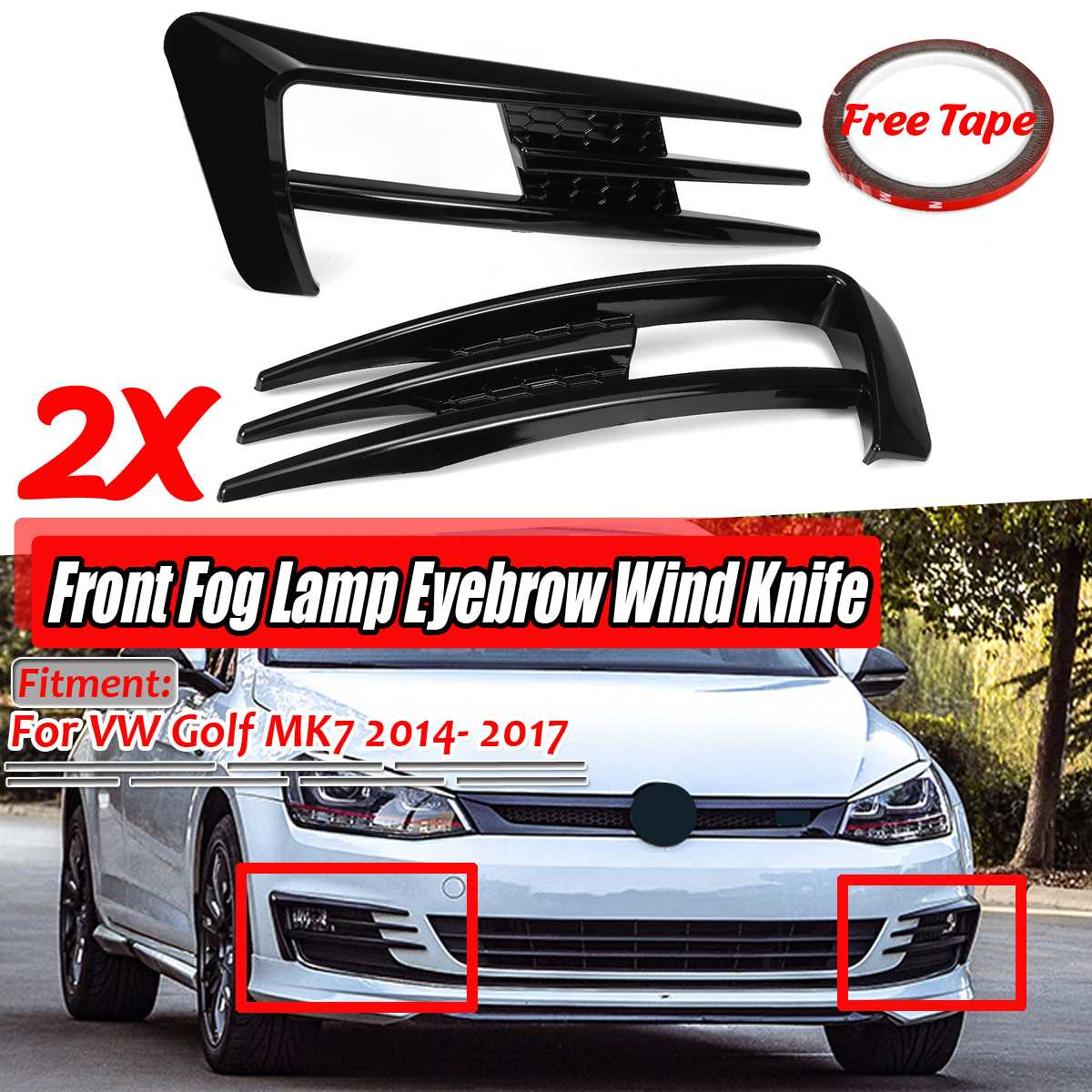 A Pair ABS Car Front Fog Lamp Eyebrow Wind Knife Cover Trim For VW For Golf MK7 2014 2015 2016 2017 Fog Light Eyebrow Eye Lid