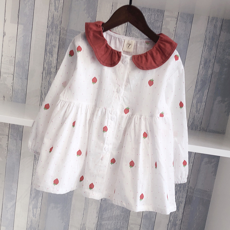 Girls Autumn Clothing 19 New Style Childrenswear Long Sleeve Cotton Linen GIRL'S Shirt Western Style Princess Strawberry Tops Ru