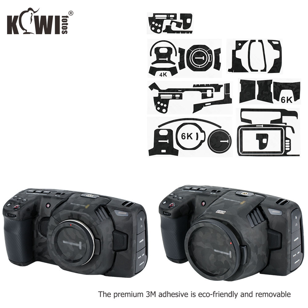 Anti-Scratch Camera Body Cover Film For Blackmagic Design Pocket Cinema Camera 4K 6K (BMPCC 4K 6K) Skin 3M Sticker Shadow Black