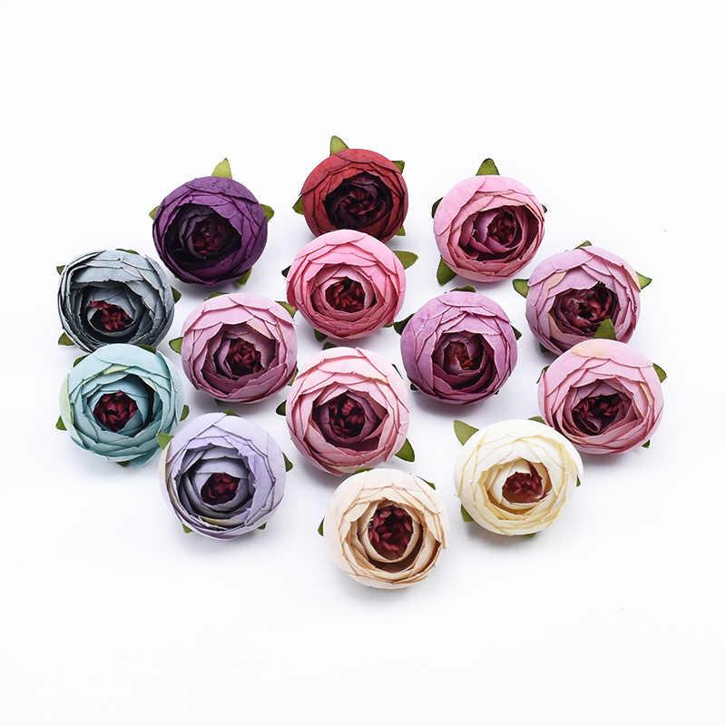 2/5/10 piezas té broches rosas cabeza boda accesorios nupciales liquidación decoración del hogar diy regalos caja de dulces flores artificiales de la pared