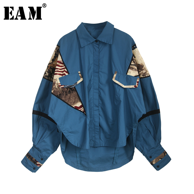 [EAM] Women Pattern Print Blue Big Size Blouse New Lapel Lantern Sleeve Loose Fit Shirt Fashion Tide Spring Autumn 2020 JL755