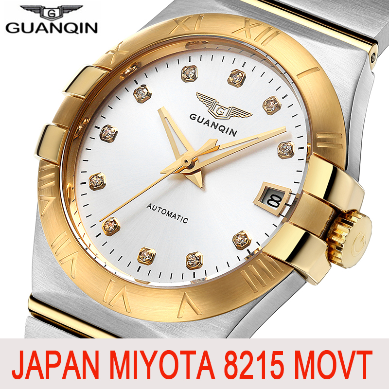 GUANQIN Sapphire Automatic Men Watch Top Brand Luxury Mechanical Watch Brand Japan Movement  Gold Waterproof Relogio Masculino