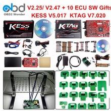Полный набор Ktag 7,020 KESS V2 5,017 V2.47 красный светодиодный BDM Рамка ECU чип-тюнинг инструмент K-TAG V7.020 KESS V5.017 Мастер онлайн Версия ЕС