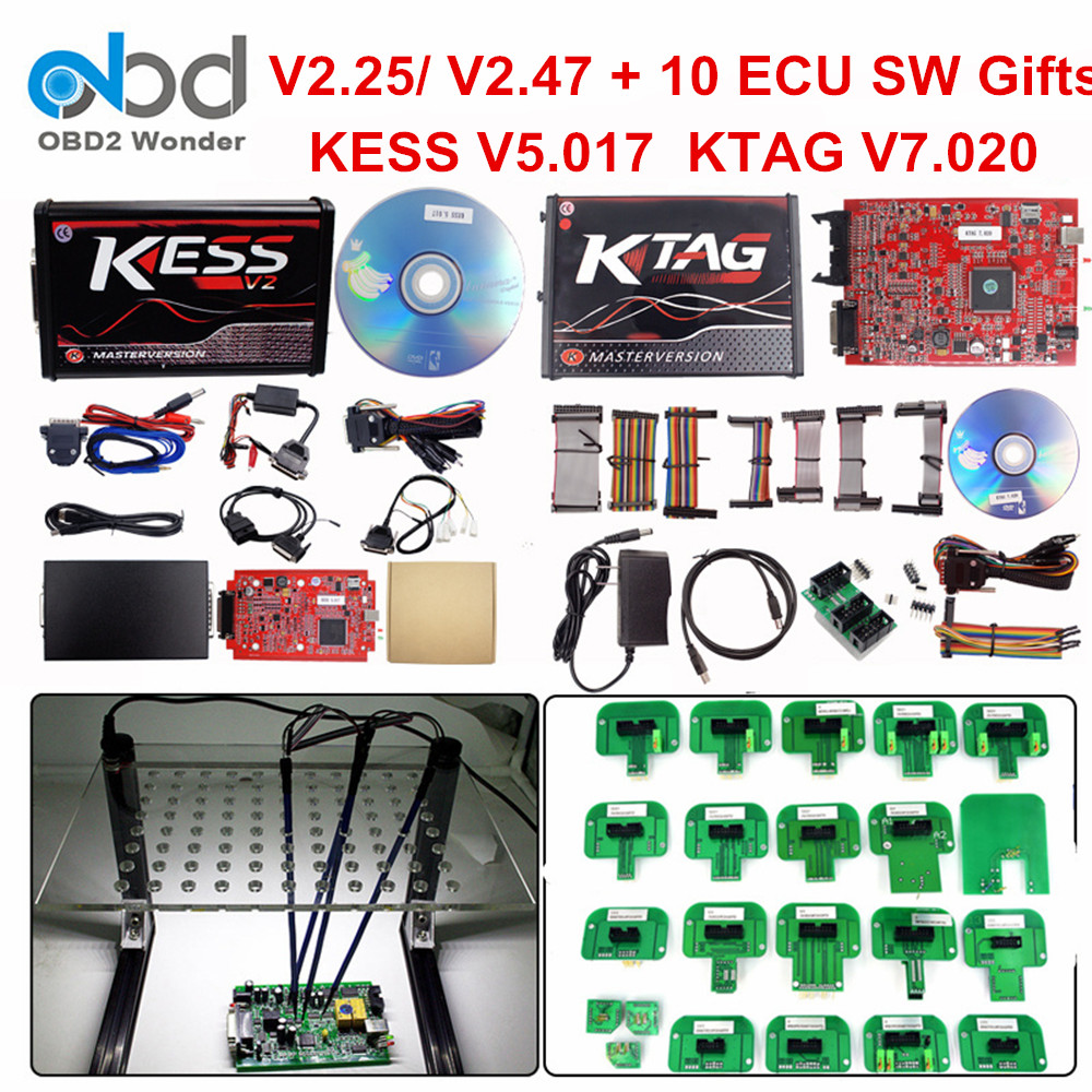 Full Set Ktag 7.020 KESS V2 5.017 V2.47 Red LED BDM Frame ECU Chip Tuning Tool K-TAG V7.020 KESS V5.017 Master Online EU Version