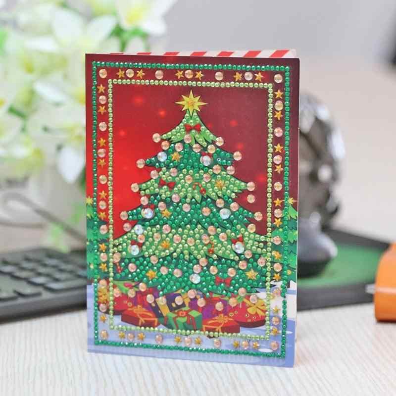 5D DIY מיוחד-צורת יהלום ציור עץ חג המולד איילים חג המולד ברכה כרטיס ברכה כרטיסי מתנה צלב תפר רקמת פסיפס K