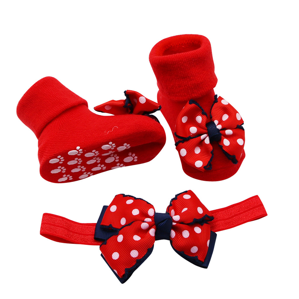 Children's Socks носки детские Baby Winter Solid Color Infant Sock +1PC Hair Belt Toddler Girls Bow Wave Point Anti-slip Sock H5
