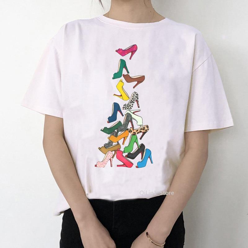Newest Watercolor High Heels Shoes Print Vogue T shirt Femme Sweet T shirt Women 90s Punk Shirt Hip Hop Hipster Streetwear