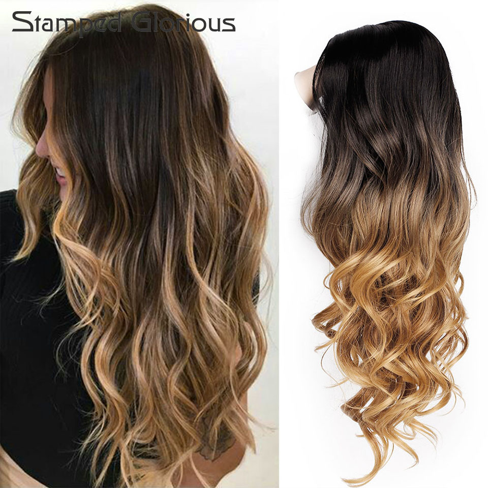 Stamped Glorious Long Ombre Black Blonde 26inchs Middle Part Wavy Wigs For Women Cosplay Synthetic Wig Heat Resistant Party Fibe