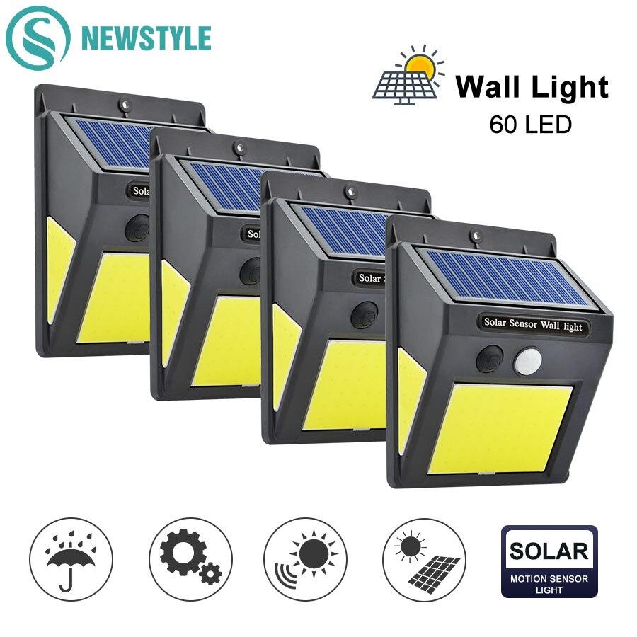48/60 COB LED Solar Light 3 Mode PIR Motion Sensor Wall Lamp IP65 Waterproof Wide Angle Outdoor Garden Street Security Light