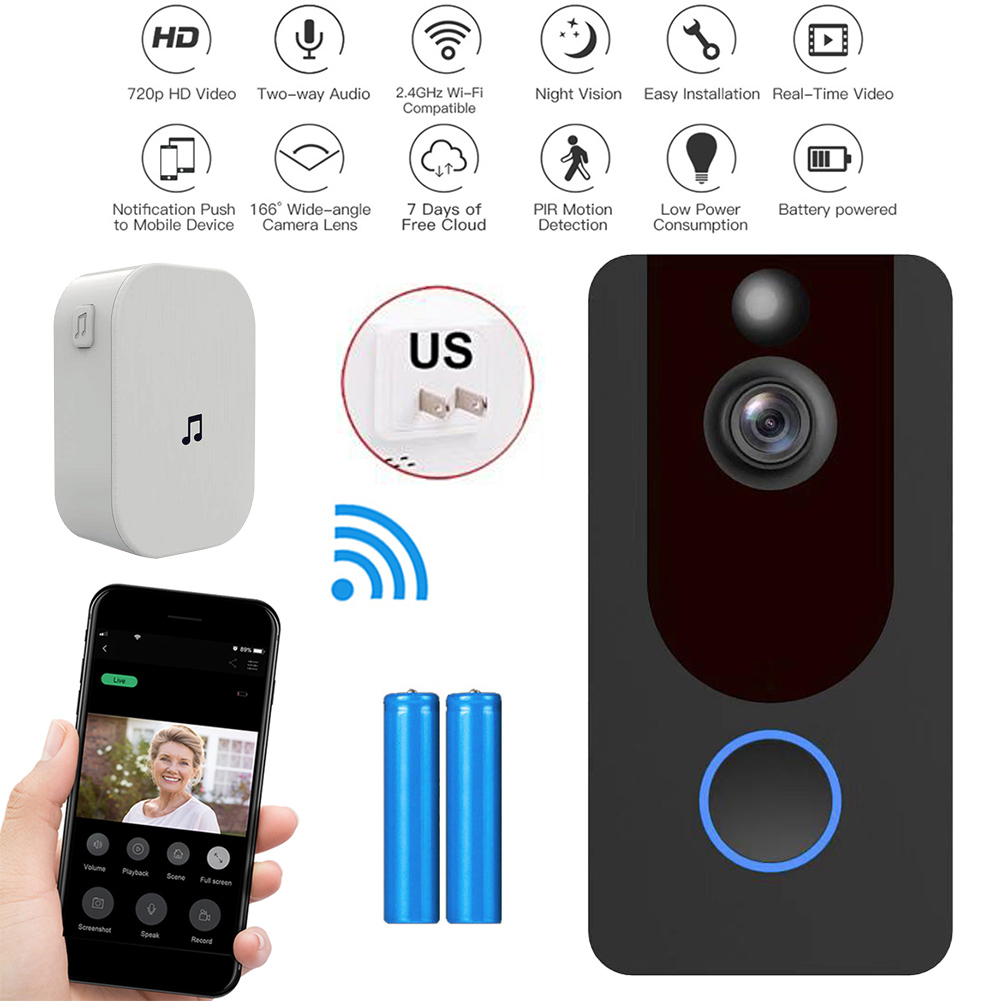 Smart Wireless Wifi Video Doorbell Intercom Phone Call Door Bell Camera Infrared Remote Home Security Monitoring With battery