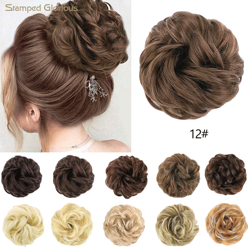 Stamped Glorious Messy Bun Hair Scrunchies Messy Bun Synthetic Chignons Hair Piece Curly Wavy Scrunchy Updo Bun Extensions