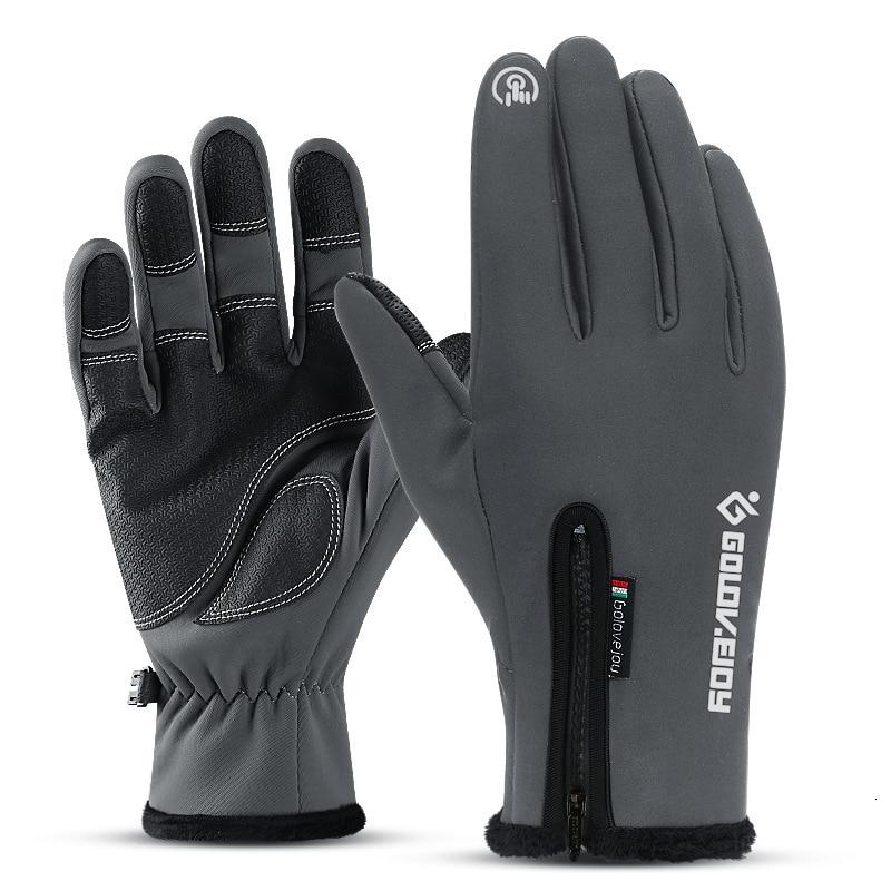 Перчатки из искусственной кожи с сенсорным экраном, мотоциклетные перчатки для сгибания пальцев, защитное оборудование, Зимние перчатки для велоспорта, мотоцикла, лыжного альпинизма - Цвет: Dark gray