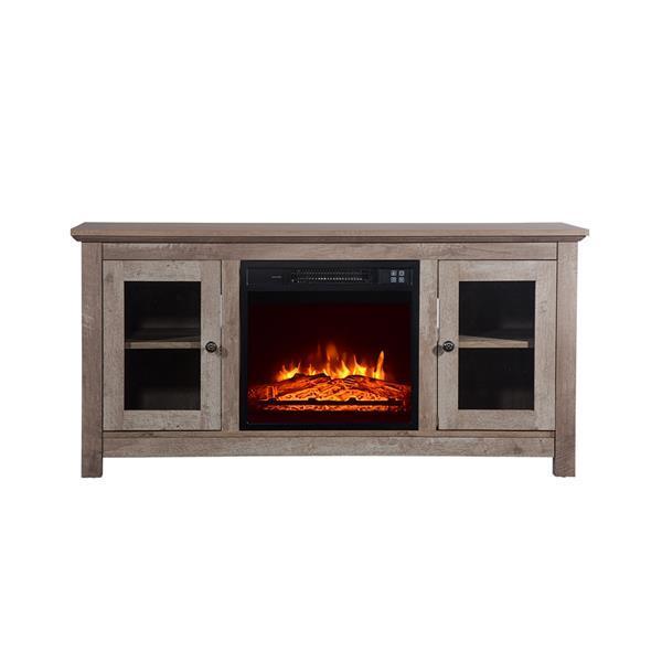 51 inch Log Cyan Fireplace TV Cabinet 2