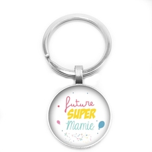 2019 New Super Mamie Papy Key Ring 25mm Glass Cabochon Elder Gift Jewellery