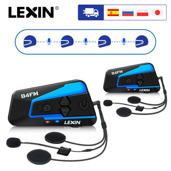 2PCS Lexin B4FM 4 Way Bluetooth Motorcycle Helmet Intercom Headsets, Hands-free wireless helmets intercomunicadores moto music
