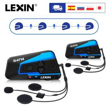 2PCS Lexin B4FM 4 Way Bluetooth Motorcycle Helmet Intercom Headsets, Hands-Free Wireless helmets Intercomunicadores Moto Music