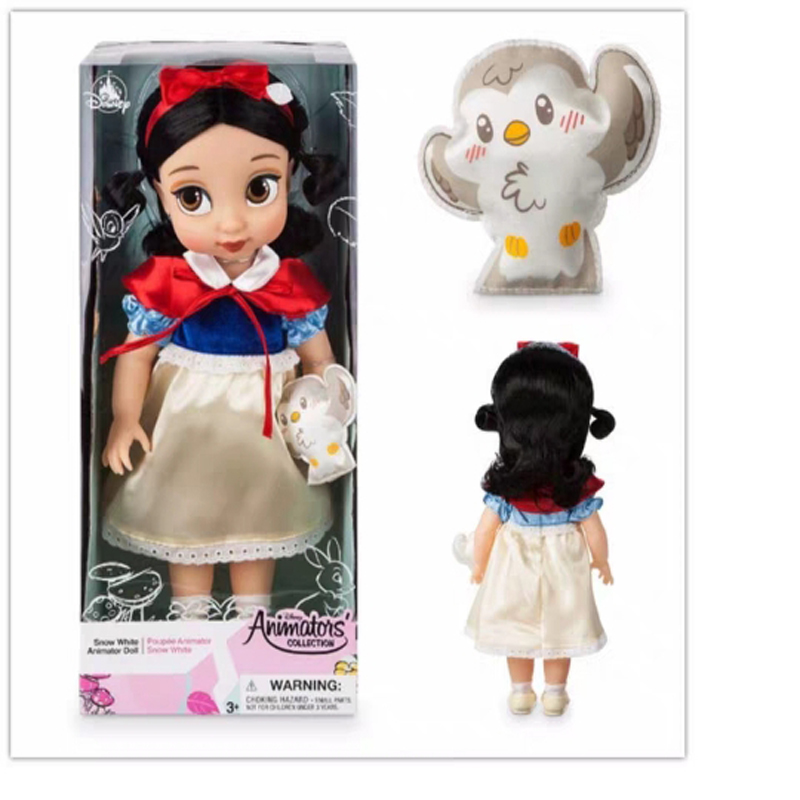 Disney Toys Cute Cartoon Snow White Princess Doll Figure Toys Girl's Frozen Collection Doll Set With Gift Box Kids Birthday Gift